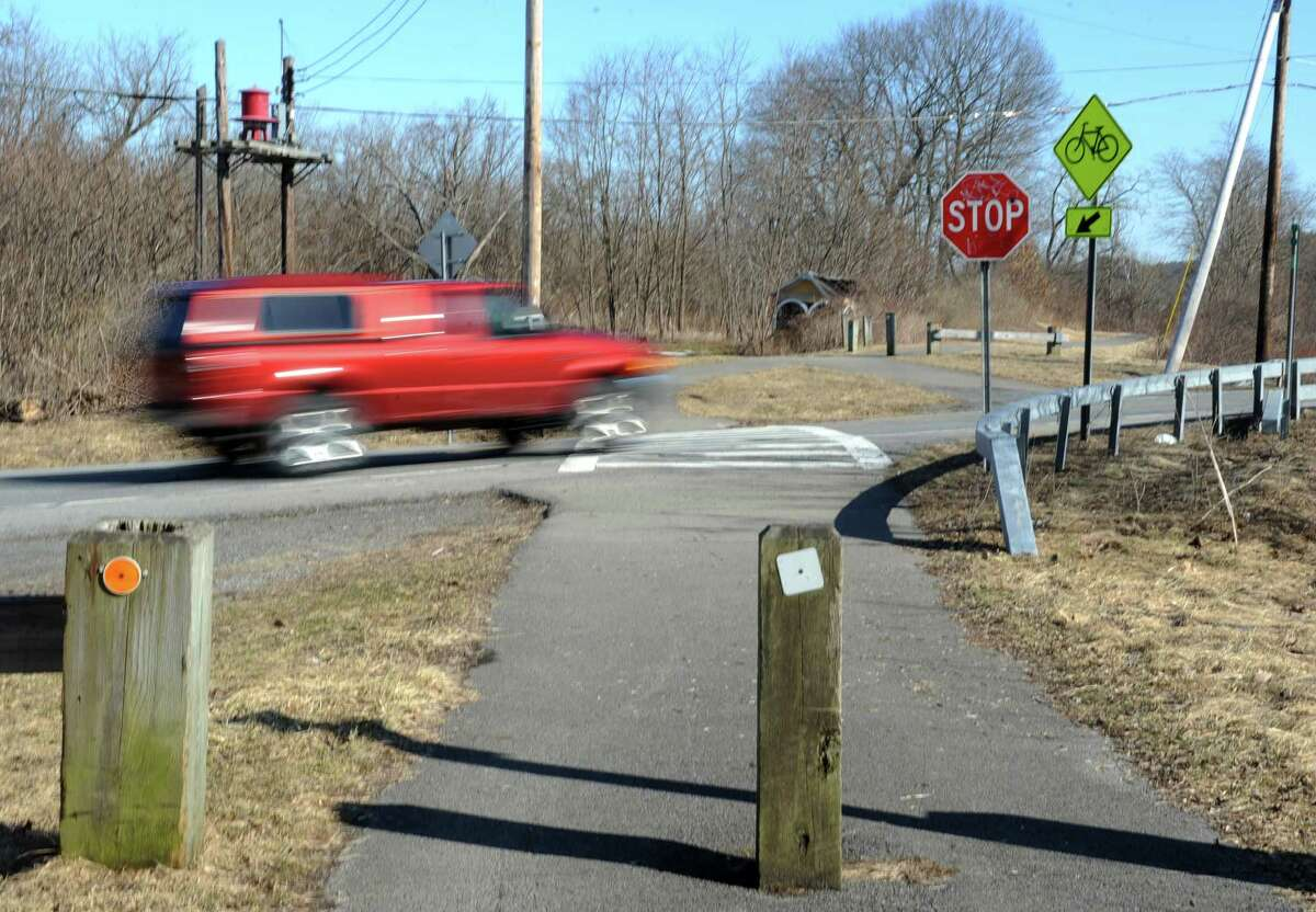 Cars driving on route 5s pass over the Mohawk Hudson Bike Trail Monday, March 31, 2014 in Rotterdam Junction, N.Y. Schenectady County will be hosting a public meeting 7:00 p.m. Tuesday to discuss proposed trail crossing improvements at this section of the trail to provide a safer crossing of the roadway. (Lori Van Buren / Times Union)