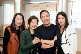 San Francisco-born designer Derek Lam with (l-r) Terrina Yamamoto, Celine Lam and Tracy Lee.