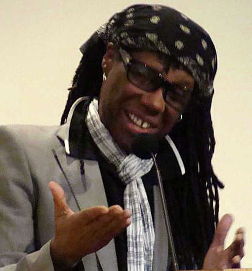 "Musician Nile Rodgers speaks about his memoir during a 2012 apperance at the Westport Library. Rodgers returns to the library May 15 to receive its annual ""BOOKED for the Evening Award."" Photo: File Photo / Westport News"