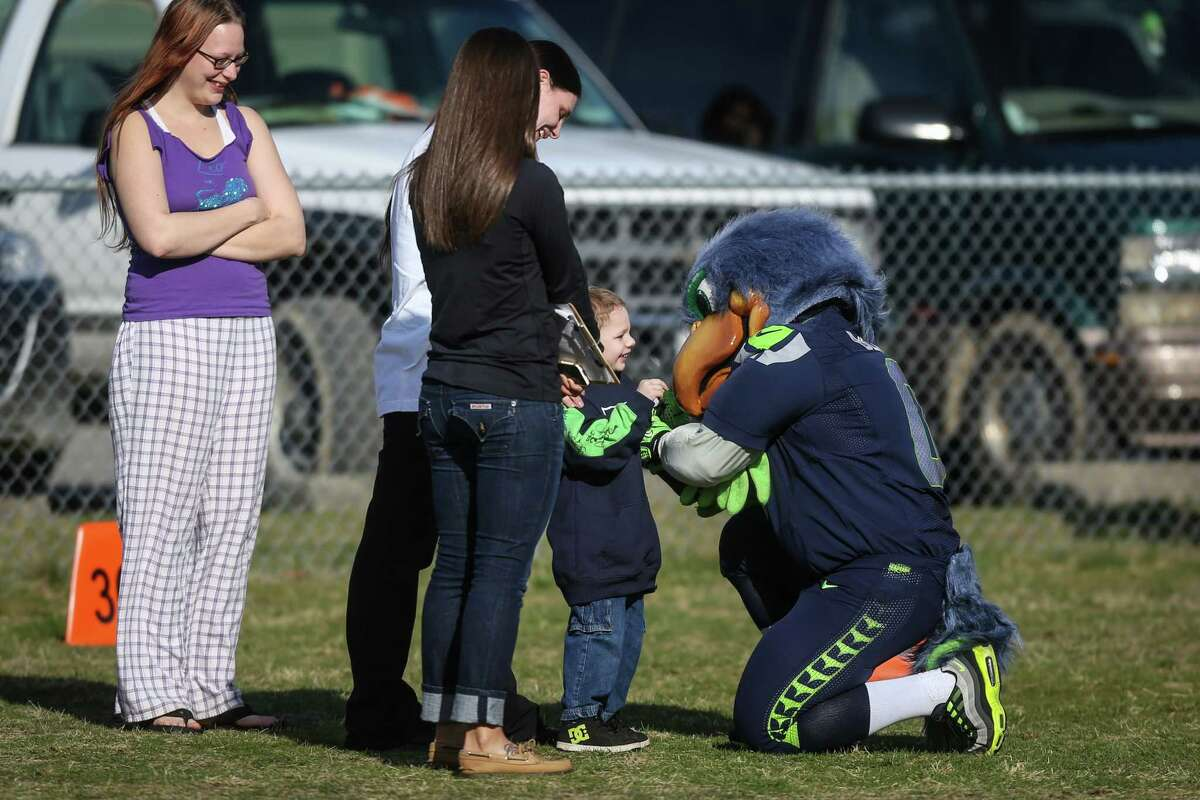 Seattle Seahawks mascot Blitz is greeted by a youngster as Seahawks and Sounders players meet with local residents on Monday, March 31, 2014 in Darrington. Players and team officials from the Sounders and Seahawks visited Darrington to lend support to locals after the deadly mudslide that hit nearby Oso.