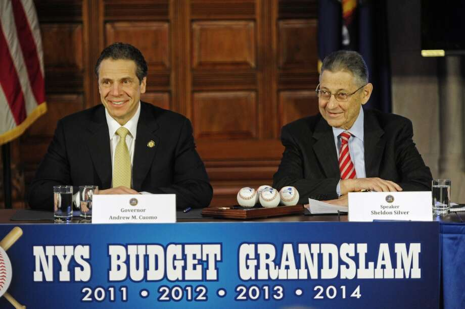 Governor Andrew Cuomo, left, and Sheldon Silver, Assembly Speaker, take part in a press conference to discuss the budget on Tuesday, April 1, 2014, in Albany, N.Y.  (Paul Buckowski / Times Union) Photo: Paul Buckowski, Albany Times Union