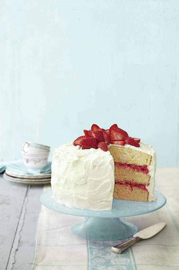 Strawberry Rhubarb Layer Cake, from Good Housekeeping. Photo: Raymond Hom