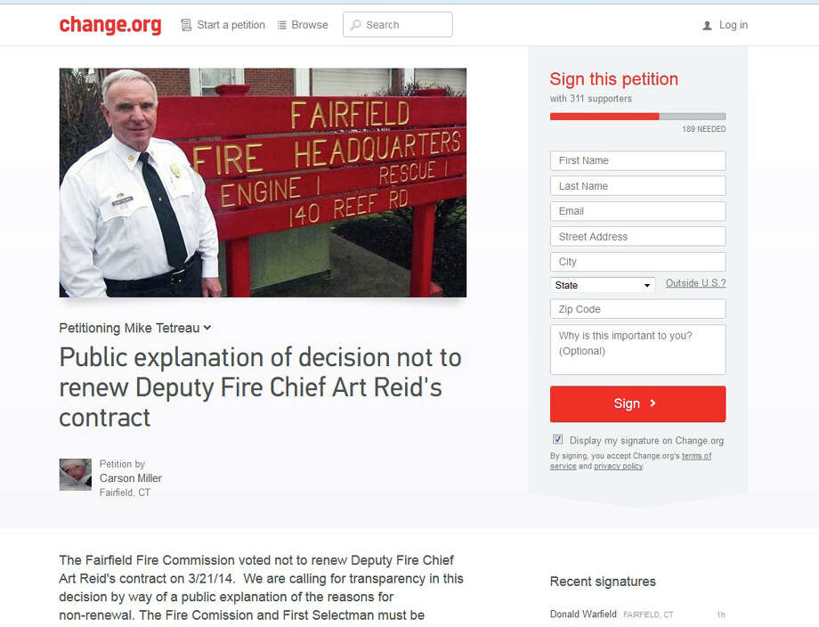 An online petition seeking a public explanation as to why Deputy Fire Chief Art Reid's contract was not renewed has been started by local resident Carson Miller. Photo: Genevieve Reilly / Fairfield Citizen