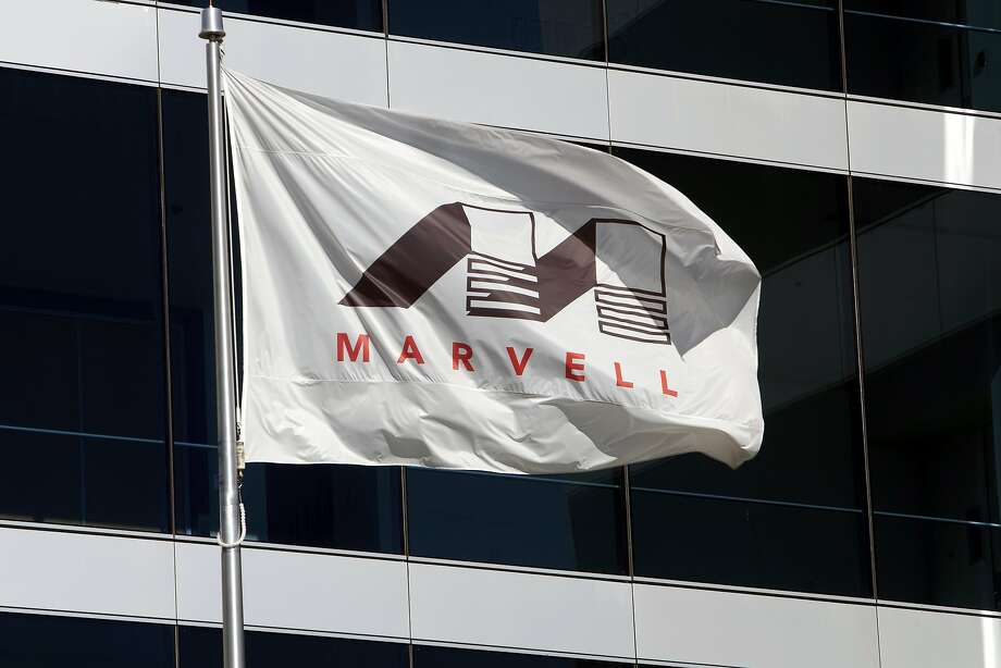 A company flag flies over the Santa Clara headquarters of Marvell Technology, which lost a patent dispute in federal court with Carnegie Mellon University. Photo: David Paul Morris, Bloomberg