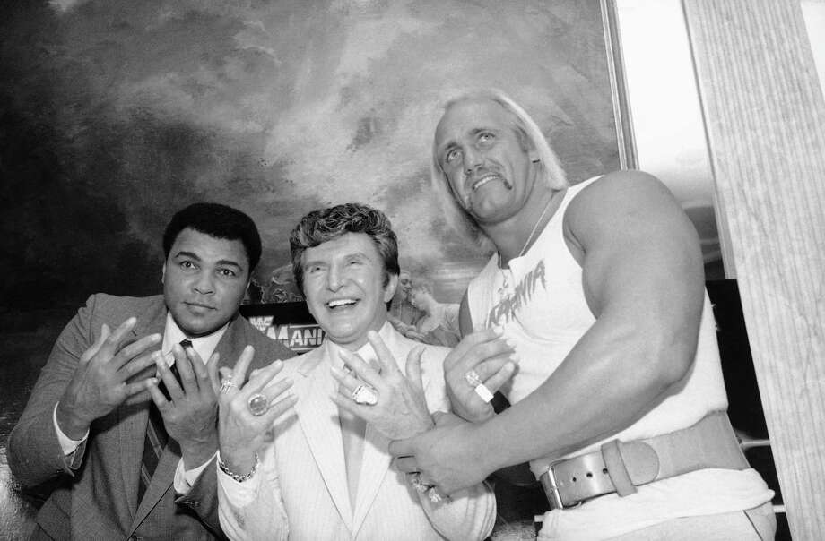 Muhammad Ali, left, Liberace, center, and Hulk Hogan get together at Madison Square Garden in preparation for upcoming WrestleMania I.Three decades after he took part in the first WrestleMania at Madison Square Garden, Hulk Hogan presided over the 30th version of World Wrestling Entertainment's signature event at the New Orleans' Superdome on Sunday. Let's take a look back at Hollywood Hulk Hogan through the years. Photo: Marty Lederhandler, Associated Press / AP1985