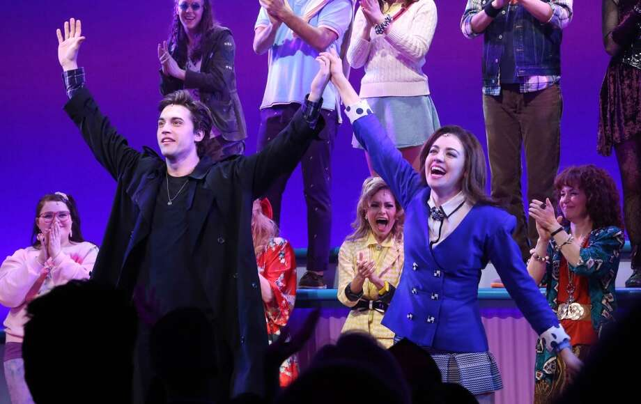"Ryan McCarten and Barrett Wilbert Weed, and cast attend curtain call at the off Broadway opening night of ""Heathers The Musical"" at New World Stages on March 31, 2014 in New York City. Photo: Rob Kim, Getty Images"