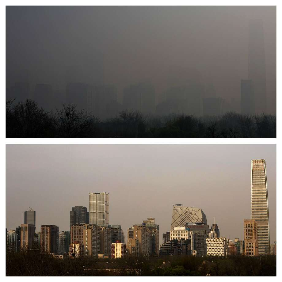 Not an April Fool's:These photos show Beijing's   Central Business District in the morning (top) and in the evening (bottom) on April 1. Photo: Kevin Frayer, Getty Images