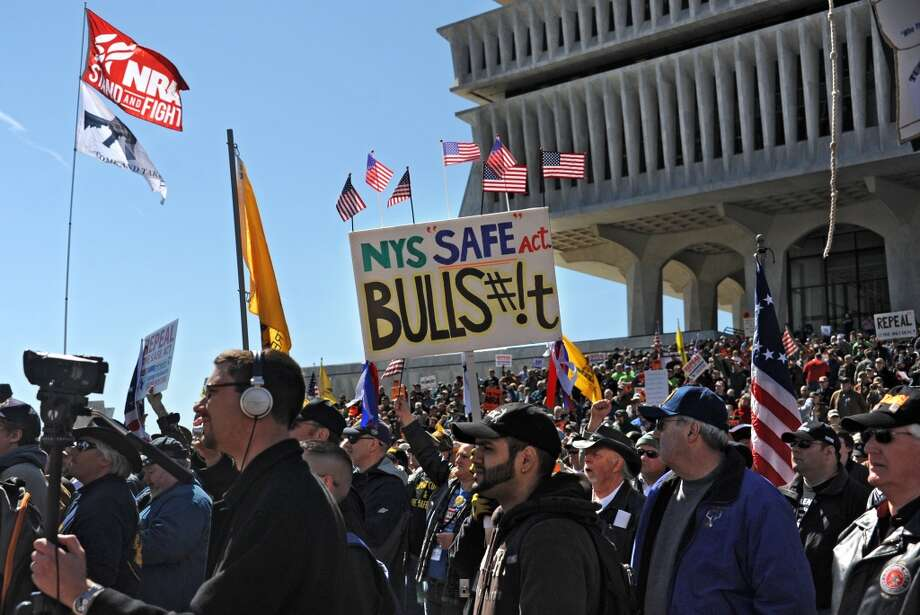 Second amendment advocates rally against the NY SAFE Act at the Empire State Plaza Tuesday April 1, 2014 in Albany, N.Y. (Lori Van Buren / Times Union) Photo: Lori Van Buren, Albany Times Union