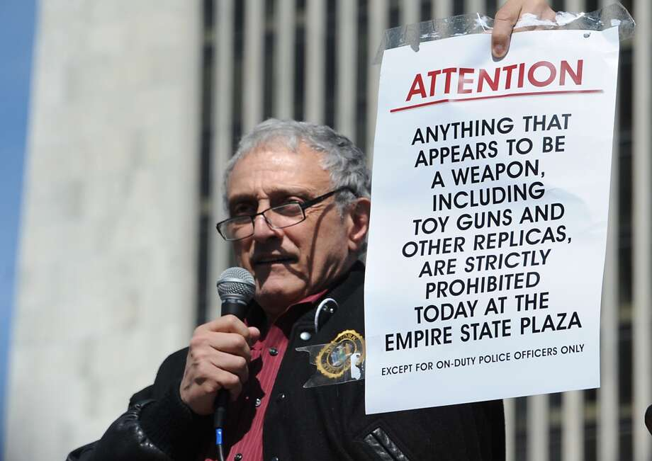 Carl Paladino, businessman and political activist from Buffalo, speaks to a crowd of second amendment advocates rallying against the NY SAFE Act at the Empire State Plaza Tuesday April 1, 2014 in Albany, N.Y. (Lori Van Buren / Times Union) Photo: Lori Van Buren, Albany Times Union