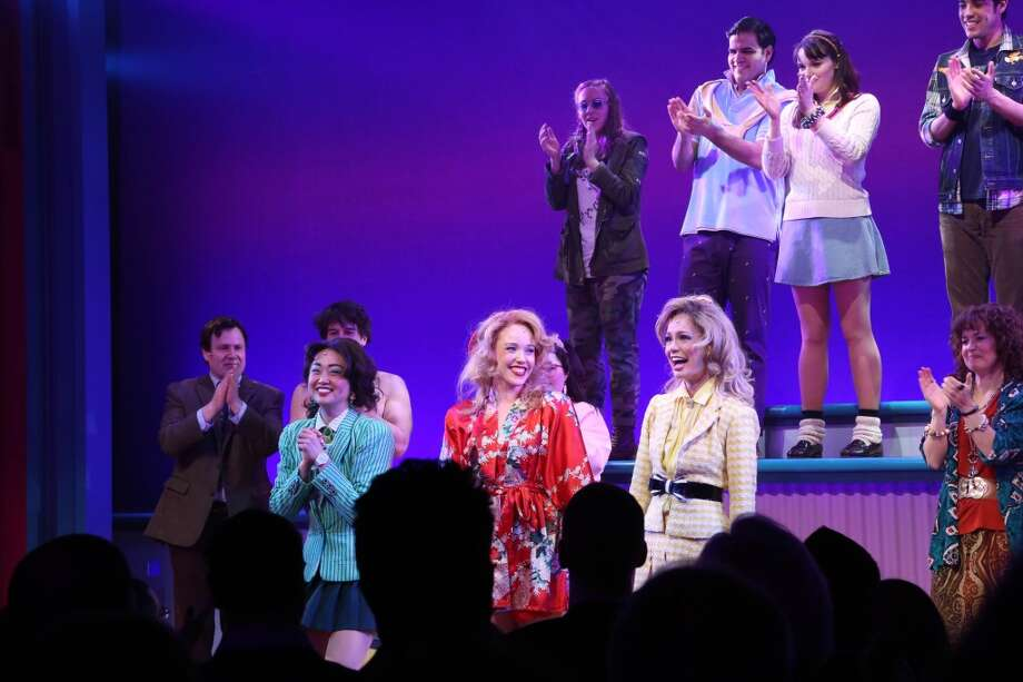 "Alice Lee, Jessica Keenan Wynn and Elle McLemore, and cast attend curtain call at the off Broadway opening night of ""Heathers The Musical"" at New World Stages on March 31, 2014 in New York City. Photo: Rob Kim, Getty Images"
