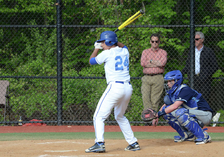 Darien's Anthony DiMeglio (24) stands at bat during the Blue Wave's baseball game against Wilton at Darien High School on Wednesday, May 15, 2013. Photo: Amy Mortensen / Connecticut Post Freelance