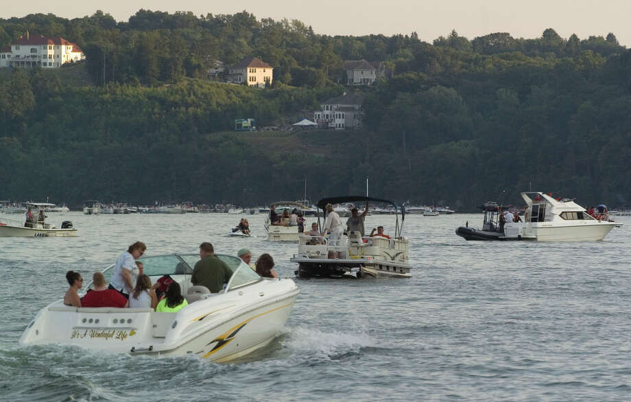 Candlewood Lake gets crowded in the summer with boats near the  Danbury Town Park in this file photo. Photo: Jason Rearick / The News-Times