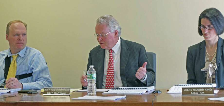 Selectman Kevin Kiley, First Selectman Mike Tetreau and Selectman Cristin McCarthy Vahey adopted a budget Tuesday that did little to the change the bottom line or the proposed 2.67 percent tax increase. Photo: Genevieve Reilly / Fairfield Citizen