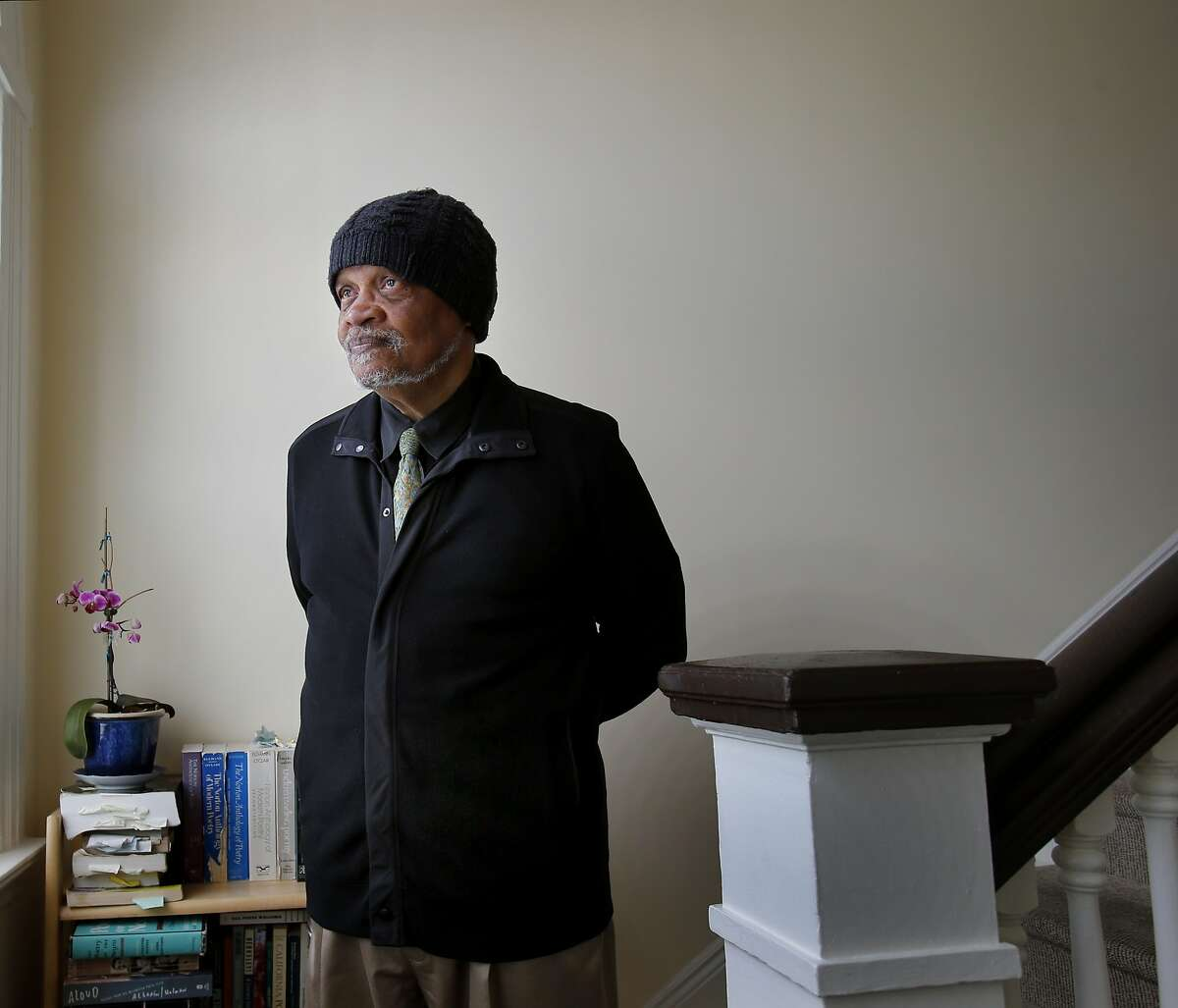 Poet Ishmael Reed stands on the staircase of his East Bay home Tuesday April 1, 2014. SFJAZZ Poet Laureate Ishmael Reed is heading a diverse group of poets for the first SFJAZZ Poetry festival.