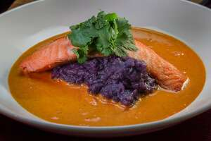 Salmon with Purple yam and Curry at Osmanthus in Oakland, Calif., is seen on Wednesday, March 26th, 2014.