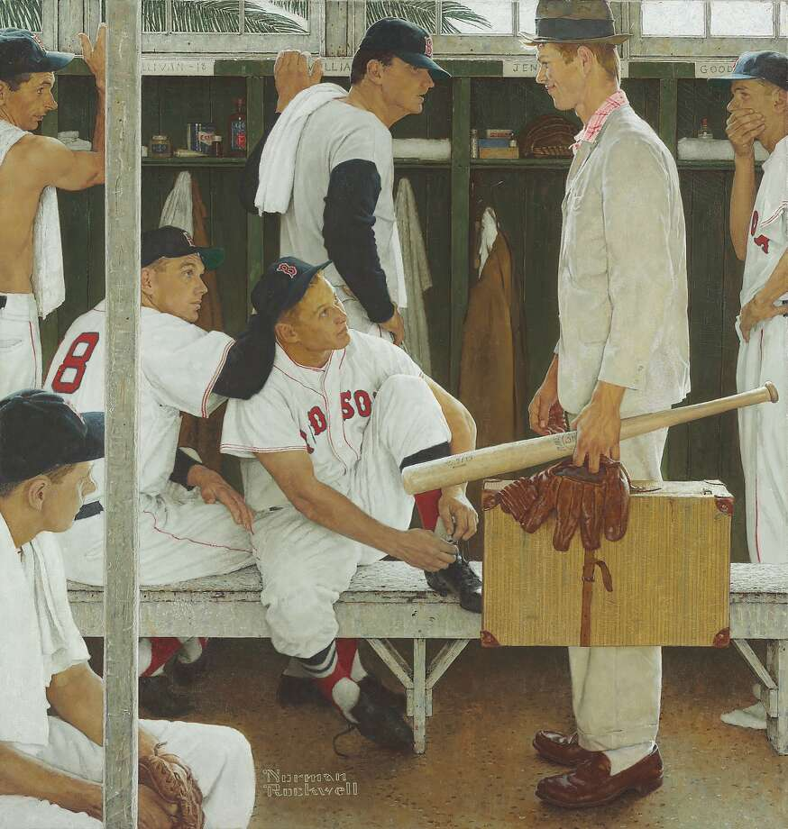 "Jackie Jensen is seated in the center of Norman Rockwell's 1957 painting ""The Rookie (Red Sox Locker Room)."" Photo: Uncredited, Associated Press"