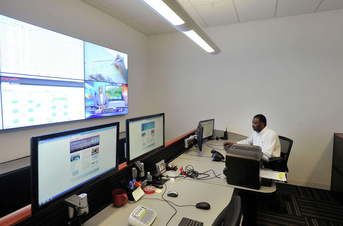 Technician Rob Bandoo works in the network operations center at Cervalis' data facility in Norwalk, Conn., on Tuesday, April 1, 2014. Cervalis provides IT infastructure solutions throughout its four data centers in the tri-state area, two of which are in lower Fairfield County.