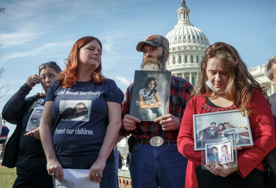 From left, Kim Langley, mother of Richard Scott Bailey, a U.S. Marine who died driving a 2007 Chevy Cobalt; Laura Christian, of Harwood, Md., birth mother of Amber Marie Rose, the first reported victim of the GM safety defect; Randal Rademaker, father of Amy Rademaker of St. Croix County, Wis., who died when her Chevy Cobalt crashed and her air bags did not deploy; and Mary Ruddy of Carbondale, Pa., whose daughter Kelly, 21, was killed in 2010 while driving a 2005 Cobalt, gather on Capitol Hill in Washington, Tuesday, April 1, 2014,for a news conference. The House Energy and Commerce Subcommittee on Oversight and Investigations will look for answers today from GM CEO Mary Barra about a faulty ignition switch and mishandled recall of 2.6 million cars that's been linked to 13 deaths and dozens of crashes. (AP Photo/J. Scott Applewhite)  ORG XMIT: DCSA104 Photo: J. Scott Applewhite / AP