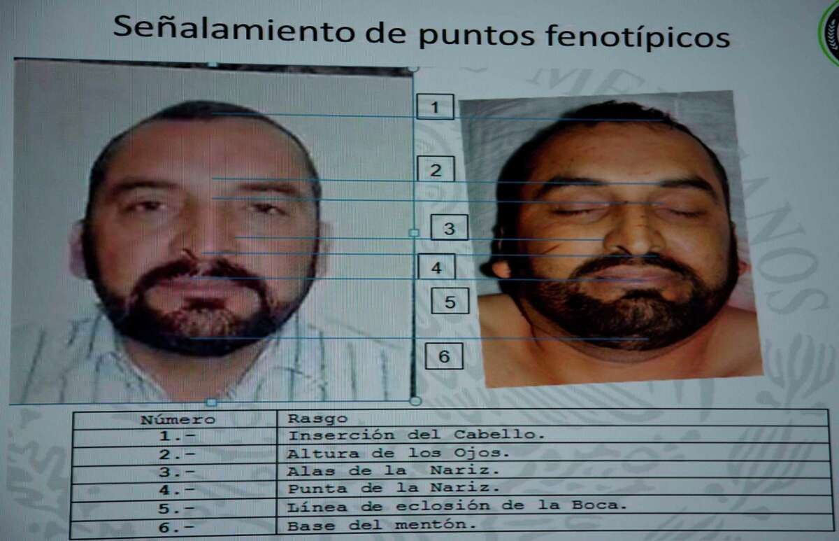 A slide that shows images of suspected drug lord Enrique Plancarte, when he was alive and when he was dead, points out similarities in facial features, during a press conference in Mexico City, Tuesday, April 1, 2014. Mexican officials said Tuesday that Plancarte, one of the two remaining top leaders of the Knights Templar drug cartel, was killed after he refused to surrender and opened fire on marines. A top federal police official, said Plancarte died Monday after marines spotted him walking down a street in the central state of Queretaro. (AP Photo/Eduardo Verdugo)