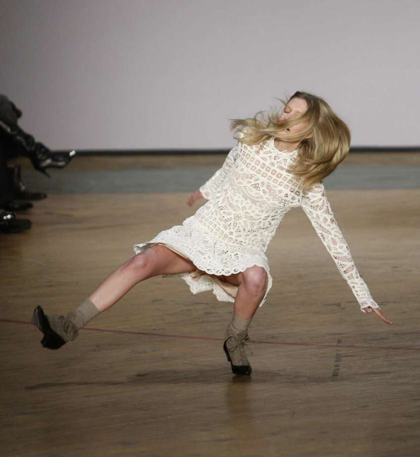 In this Feb. 16, 2010 file photo, a model takes a tumble on the runway during the Marc by Marc Jacobs fall 2010 fashion show, during Fashion Week in New York. Photo: Seth Wenig, Associated Press / AP2010