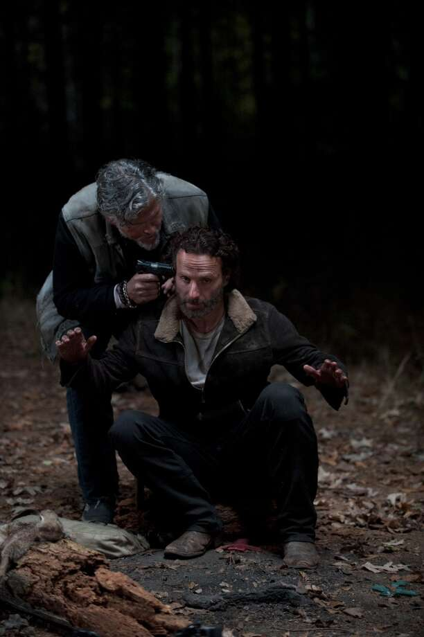 Rick Grimes (Andrew Lincoln) and Jeff Kober - The Walking Dead _ Season 4, Episode 16 - Photo Credit: Gene Page/AMC Photo: Gene Page/AMC
