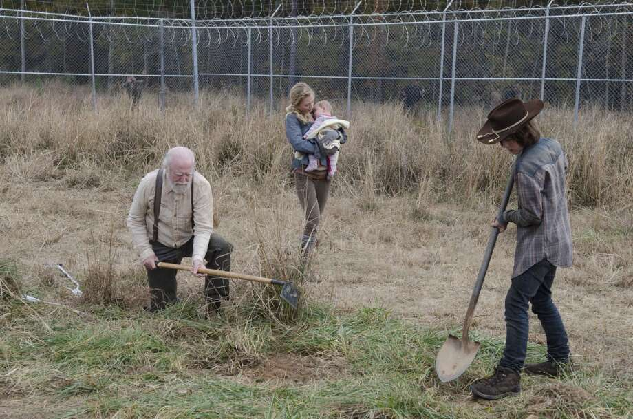 Hershel Greene (Scott Wilson), Beth Greene (Emily Kinney) and Carl Grimes (Chandler Riggs) - The Walking Dead _ Season 4, Episode 16 - Photo Credit: Gene Page/AMC Photo: Gene Page/AMC
