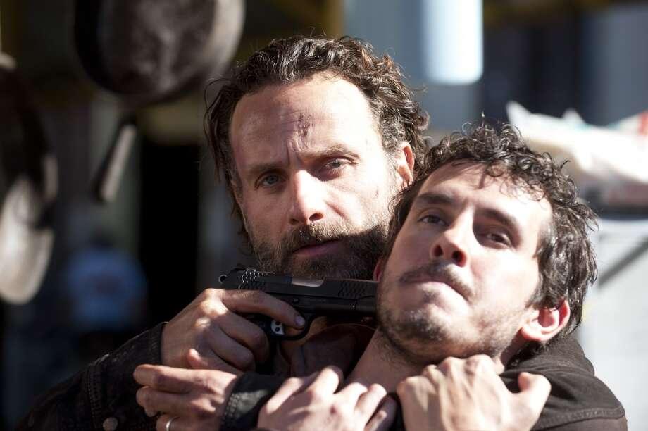 Alex (Tate ellington), Rick Grimes (Andrew Lincoln) - The Walking Dead _ Season 4, Episode 16 - Photo Credit: Gene Page/AMC Photo: Gene Page/AMC