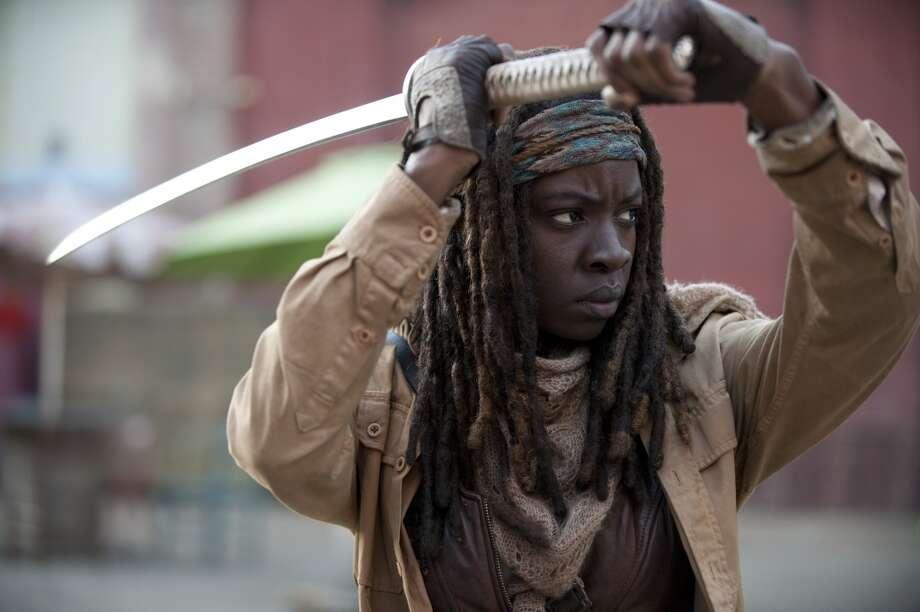 Michonne (Danai Gurira) - The Walking Dead _ Season 4, Episode 16 - Photo Credit: Gene Page/AMC Photo: Gene Page/AMC