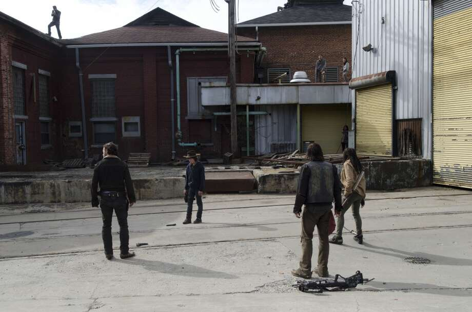 Rick Grimes (Andrew Lincoln), Carl Grimes (Chandler Riggs), Daryl Dixon (Norman Reedus) and Michonne (Danai Gurira) - The Walking Dead _ Season 4, Episode 16 - Photo Credit: Gene Page/AMC Photo: Gene Page/AMC