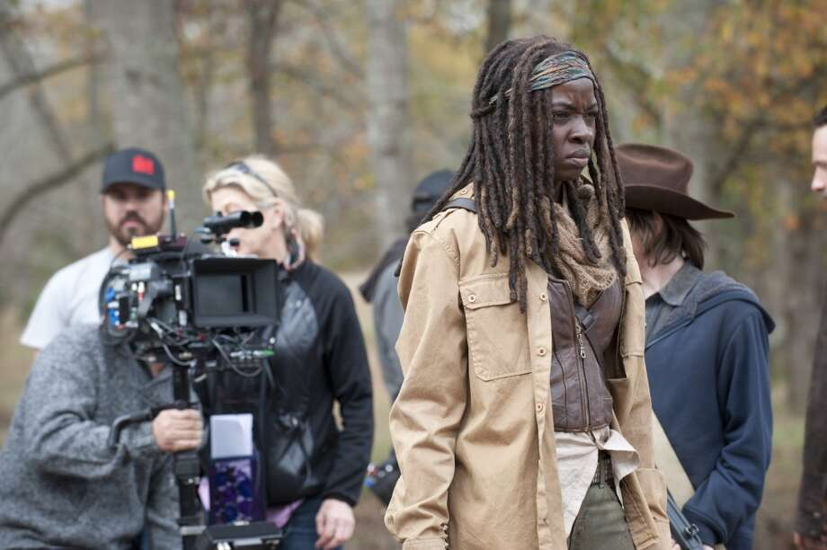 Danai Gurira - The Walking Dead _ BTS - Season 4, Episode 16 - Photo Credit: Gene Page/AMC