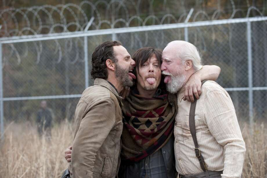 Andrew Lincoln, Norman Reedus and Scott Wilson - The Walking Dead _ BTS - Season 4, Episode 16 - Photo Credit: Gene Page/AMC