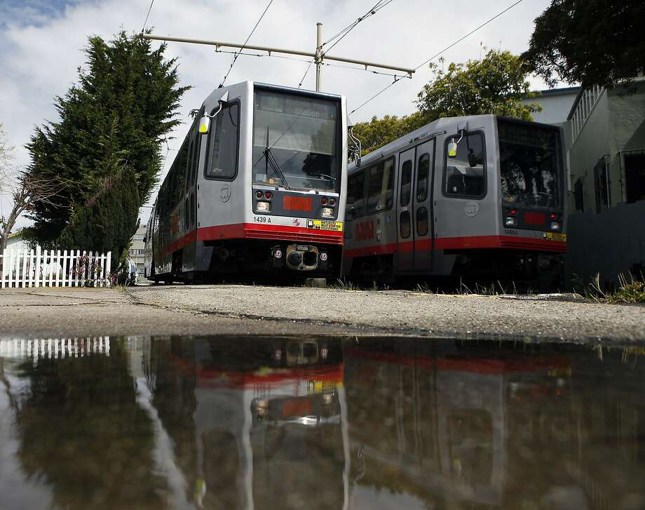 Travel time along the M-Ocean View Muni Metro line averages just 8 to 9 mph along 19th Avenue, where it has to contend with traffic signals and congestion around San Francisco State and Stonestown Galleria. Photo: Michael Short, The Chronicle