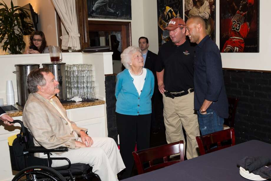 President George H W Bush, former First Lady Barbara Bush, Roger Clemens and Derek Jeter. Photo: Photo Courtesy Of Noisemaker Communications
