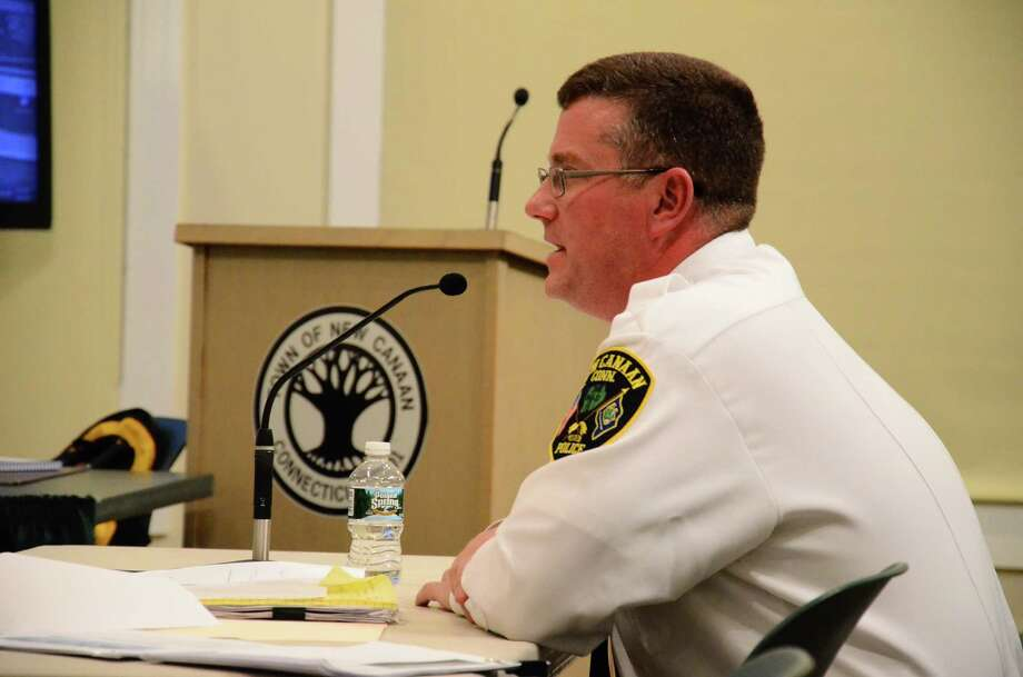 Chief of Police Leon Krolikowski speaks about his department's budget request for the 2014-15 fiscal year at a Town Council meeting Wednesday, March 26, 2014, at the Nature Center in New Canaan, Conn. Photo: Nelson Oliveira / New Canaan News