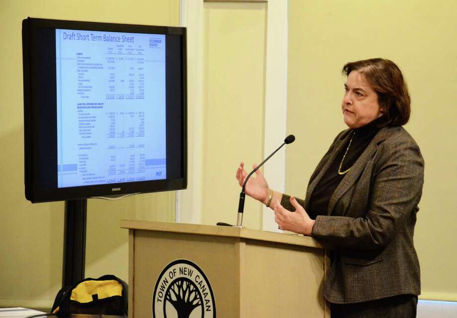 Marcia Marien, an accountant with O'Connor Davies, a regional Certified Public Accounting and consulting firm, gives a presentation on the town's 2012-2013 audit to the Town Council Thursday, March 27, 2014, at the Nature Center in New Canaan, Conn. Photo: Nelson Oliveira / New Canaan News