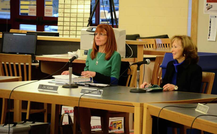 Superintendent of Schools Mary Kolek, left, and Board of Education Chairman Hazel Hobbs at a special meeting March 17, 2014, at New Canaan High School. Photo: File Photo / New Canaan News file photo