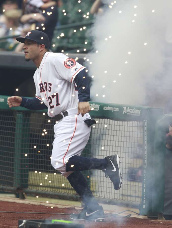 Astros second baseman Jose Altuve is introduced in pregame festivities. Photo: Melissa Phillip, Houston Chronicle