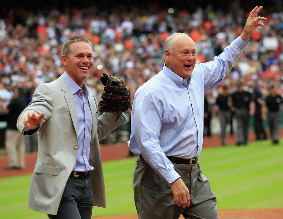 HOUSTON, TX - APRIL 01:  Former Houston Astros Craig Biggio,left, and Nolan Ryan wave to the crowd after Ryan threw out the first pitch to Biggio on opening night at Minute Maid Park on April 1, 2014 in Houston, Texas. Photo: Bob Levey, Getty Images / 2014 Getty Images