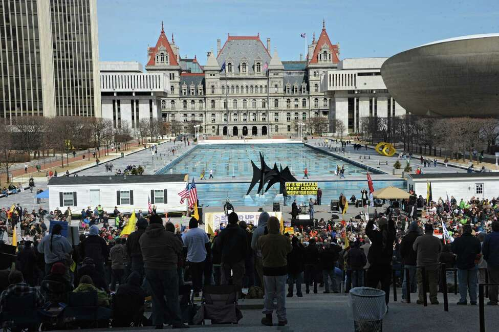 Second Amendment advocates rally against the NY SAFE Act Tuesday, April 1, 2014, at the Empire State Plaza in Albany, N.Y. (Lori Van Buren / Times Union)
