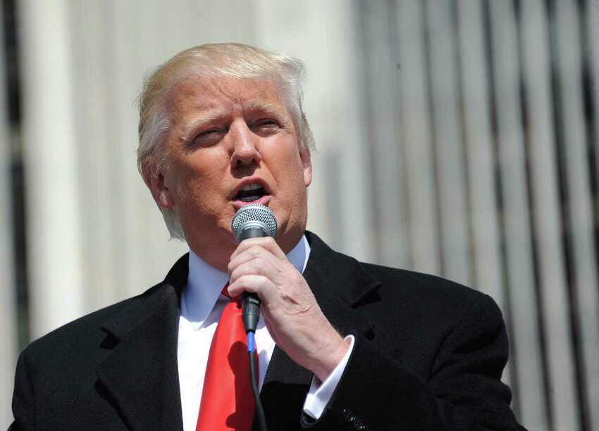Donald Trump speaks to a crowd of Second Amendment advocates rallying against the NY SAFE Act Tuesday, April 1, 2014, at the Empire State Plaza in Albany, N.Y. (Lori Van Buren / Times Union)