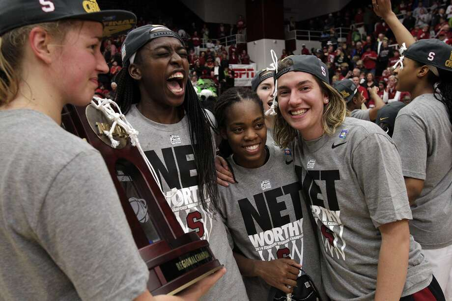 Chiney Ogwumike (second from left) lets loose amid teammates Mikaela Ruef, Lili Thompson and Toni Kokenis. Photo: Carlos Avila Gonzalez, The Chronicle