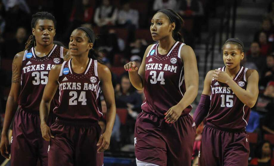 Texas A&M's Achiri Ade (from left), Jordan Jones, Karla Gilbert and Tori Scott made a surprising run to the Elite Eight before losing Monday night to top-ranked Connecticut. Photo: Dave Weaver / Associated Press / FR67562 AP