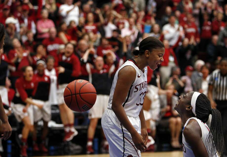 Amber Orrange (left) knows when to be aggressive on the court, says Chiney Ogwumike (right). Photo: Carlos Avila Gonzalez, The Chronicle