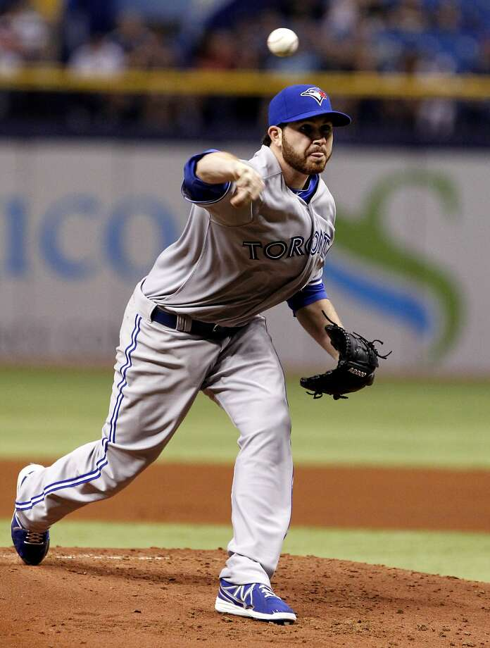Toronto's Drew Hutchison, in his return from Tommy John surgery, pitched 51/3 shutout innings to beat Tampa Bay. Photo: Brian Blanco, Getty Images