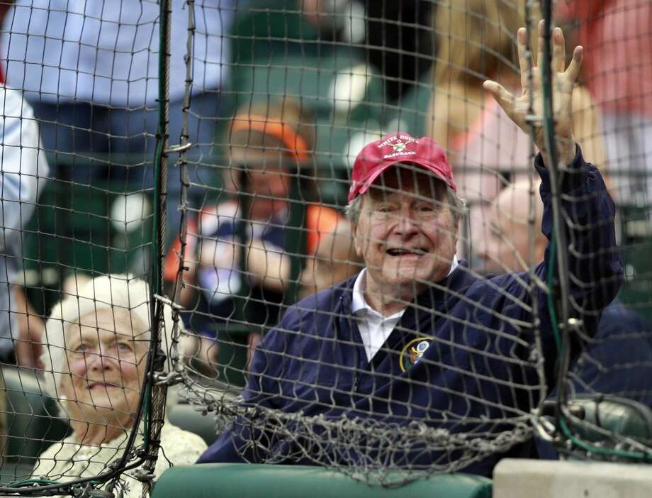 Former President George H. W. Bush was in attendance for opening day. Photo: Melissa Phillip, Houston Chronicle