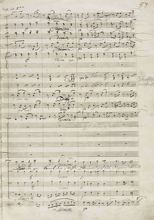 This photograph of Beethoven's Ninth Symphony manuscript, bearing extensive revisions, corrections and alterations by the composer, was released in New York by Sotheby's auction house, Friday, May 9, 2003. The manuscript will go up for action on May 22 in London. (AP Photo/Sotheby's)  HOUCHRON CAPTION  (05/23/2003):  Beethoven's manuscript. Photo: HO / SOTHEBYS AUCTION HOUSE