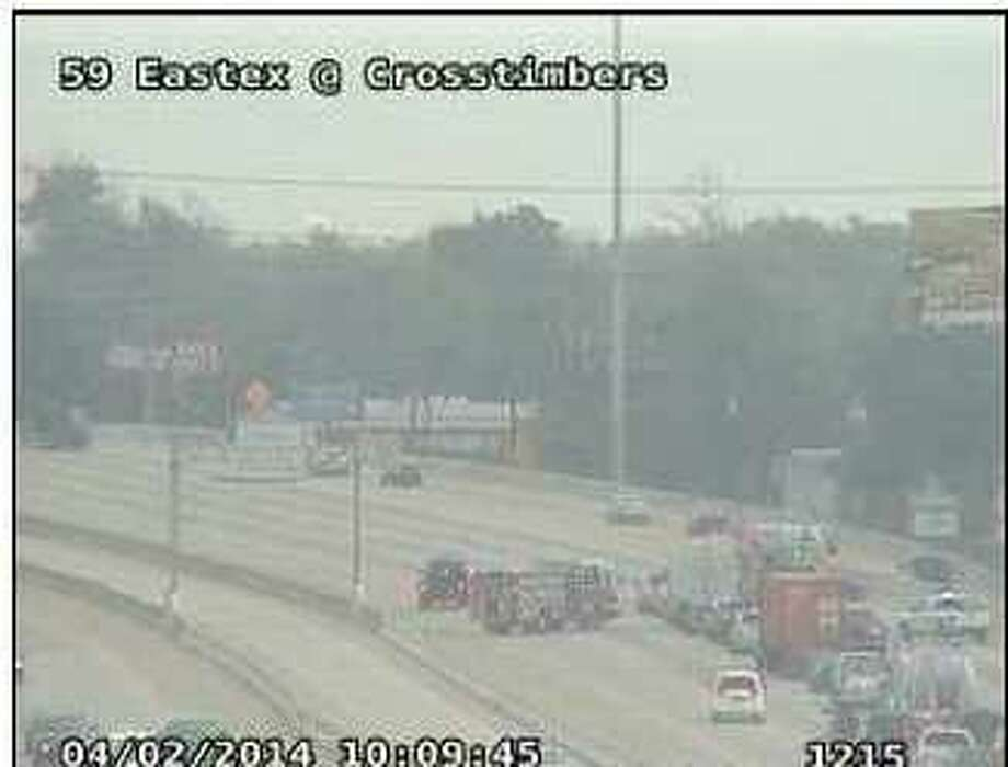 The three-car pileup happened about 9:30 a.m. on the outbound Eastex Freeway near Crosstimbers, according to Houston TranStar.