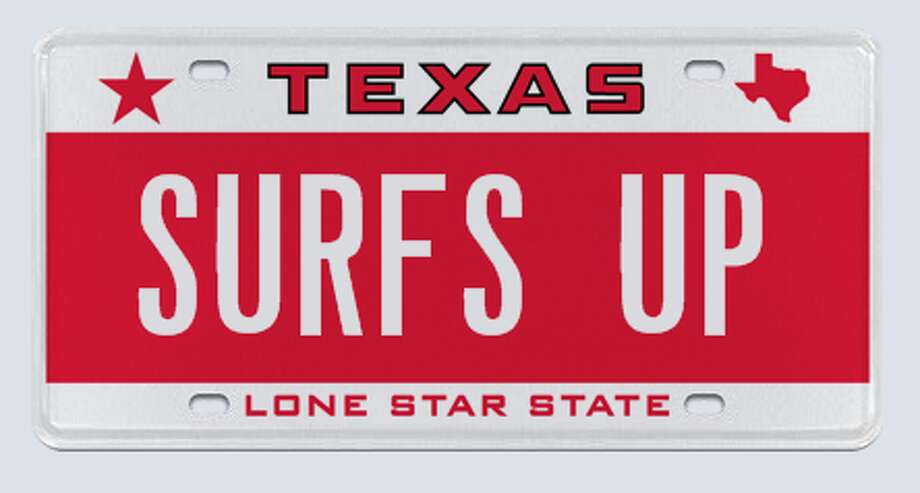 "This ""Surf's Up"" license plate is just one of the many seven-letter combinations available in the new vanity plate sale from MyPlates.com and the Texas DMV.  Click through to see some of the inappropriate vanity plates that have been rejected in Texas. Photo: MyPlates.com"