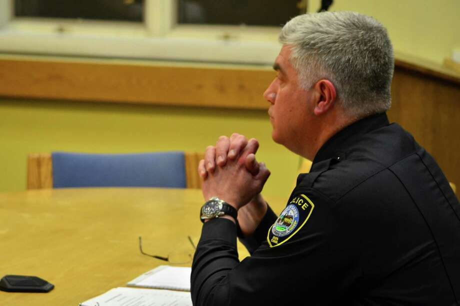 Darien Police Chief Duane Lovello spoke to the Board of Finance about the importance of adding money back into the budget for the hiring of a civilian dispatcher in the communications center. Photo: Megan Spicer / Darien News