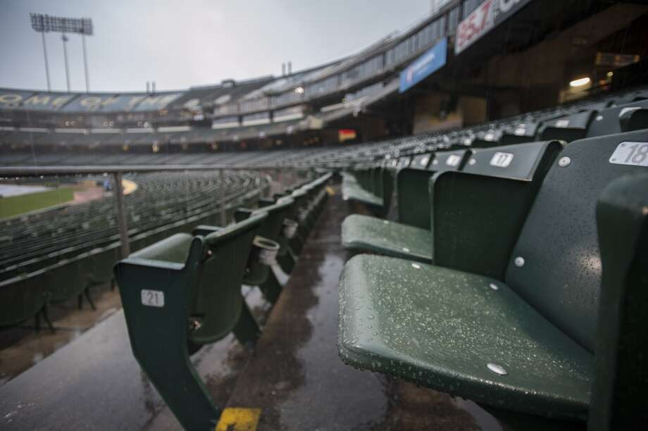 General view of the stands at O.co Coliseum after the game between the Oakland Athletics and the Cleveland Indians was postponed due to inclement weather. Photo: Ed Szczepanski, Reuters